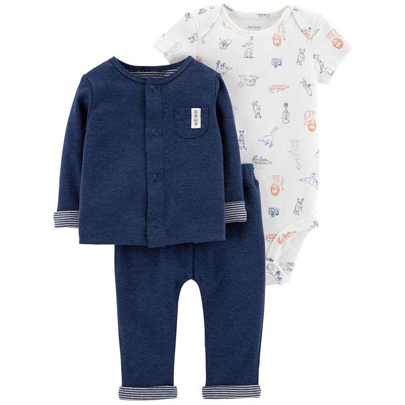 Carters Little Baby Basics 3-pc. Layette Set-Boys, 12 Months, Blue Pocket