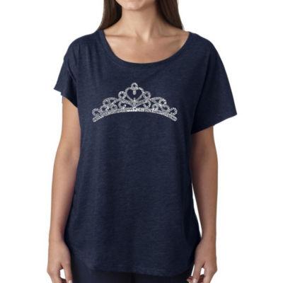 Los Angeles Pop Art Women's Loose Fit Dolman Cut Word Art Shirt - Princess Tiara