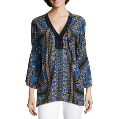 John Paul Richard Bell Sleeve V Neck Crepon Blouse