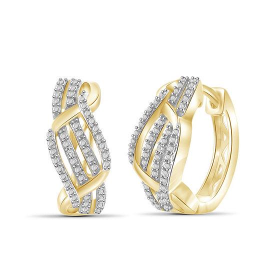 Diamond Accent White Diamond 14K Gold Over Brass 18.1mm Round Hoop Earrings