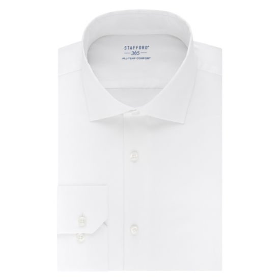 Stafford 365 All-Temp Comfort Flex Collar Fitted Wrinkle Free Long Sleeve Broadcloth Dress Shirt