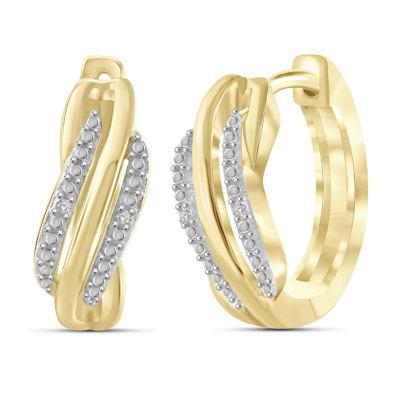 Diamond Accent White Diamond 14K Gold Over Brass 17.6mm Round Hoop Earrings