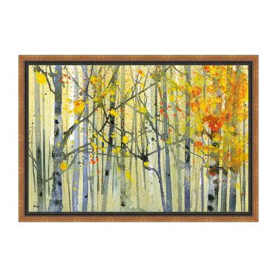Autumn Birches Framed Canvas Art