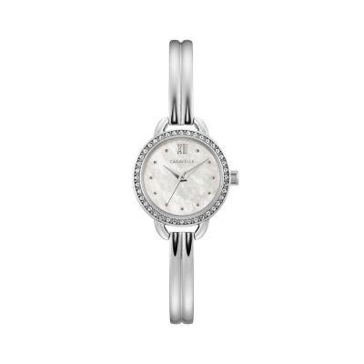 Caravelle Womens Silver Tone Bracelet Watch-43l213