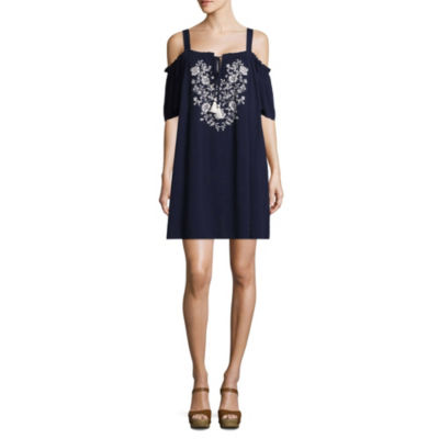 My Michelle Sleeveless Embroidered A-Line Dress-Juniors