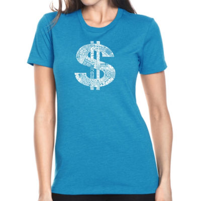 Los Angeles Pop Art Women's Premium Blend Word ArtT-shirt - Dollar Sign