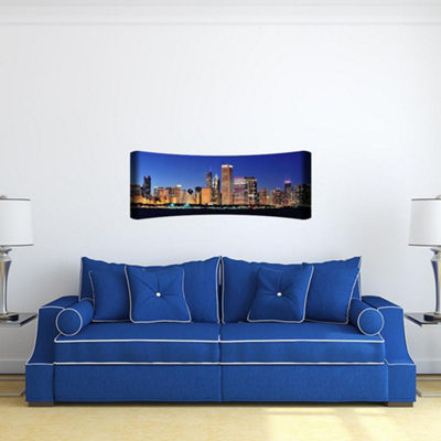 Metal Wall Art Home Decor Chicago 48x19 HD Curve