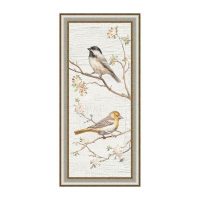 Vintage Birds Panel II Framed Canvas Art