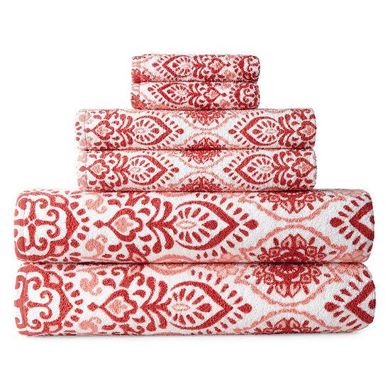 JCPenney Home Henna 6-pc. Bath Towel Set