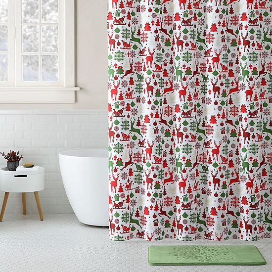 VCNY Reindeer Shower Curtain Set
