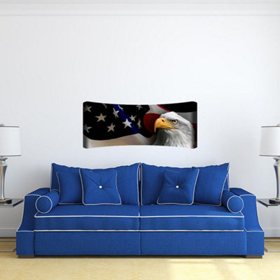 Metal Wall Art Home Decor Eagle Flag 48x19 HD Curve