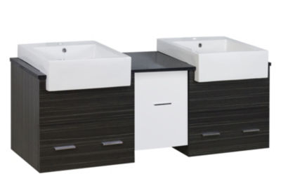 59.5-in. W Wall Mount White-Dawn Grey Vanity Set For 1 Hole Drilling Black Galaxy Top