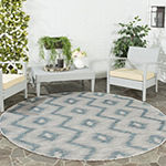 Safavieh Courtyard Collection Lexine Chevron Indoor/Outdoor Round Area Rug