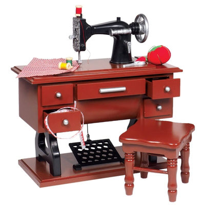 The Queen's Treasures 18 Inch Doll 9 Piece 1930 Sewing Machine Set