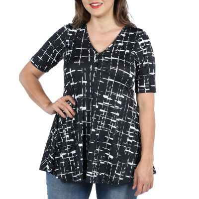 24Seven Comfort Apparel Amina Henley Style Black and White Tunic Top - Plus