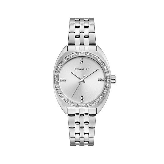 Caravelle Designed By Bulova Womens Silver Tone Stainless Steel Bracelet Watch-43l214
