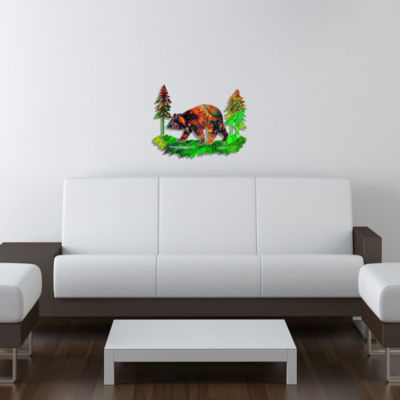 Metal Bear Wall Art Saffron Medium Bear