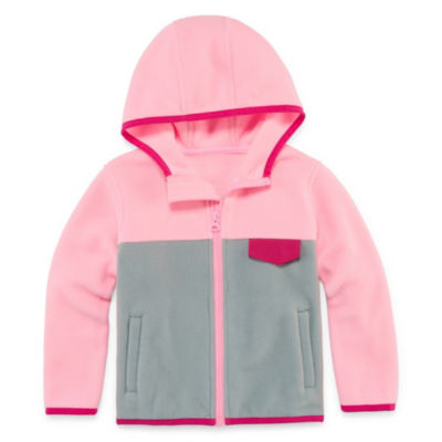 Okie Dokie Polar Fleece Hooded Lightweight Jacket-Toddler Girls