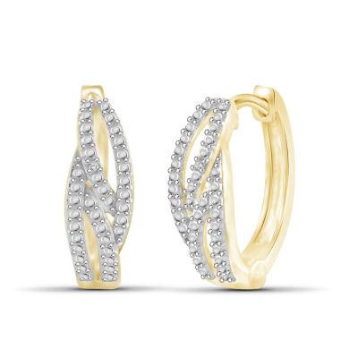 Diamond Accent White Diamond 17.9mm Round Hoop Earrings