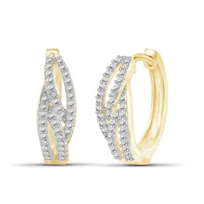 Diamond Accent White Diamond 14K Gold Over Brass 17.9mm Round Hoop Earrings