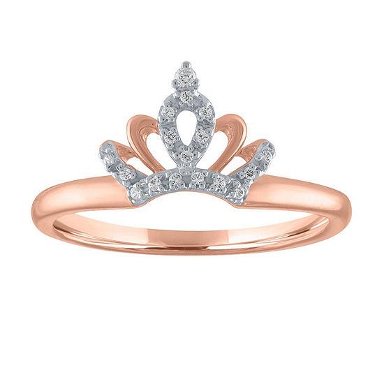 Womens Diamond Accent Genuine White Diamond 10K Rose Gold Crown Cocktail Ring