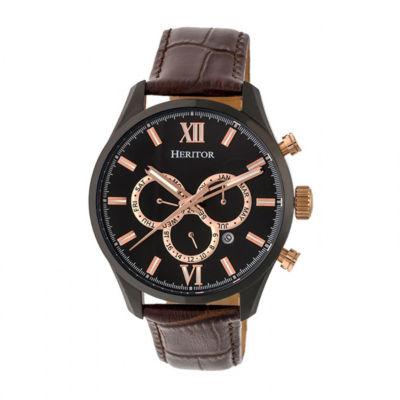 Heritor Unisex Brown Strap Watch-Herhr6806