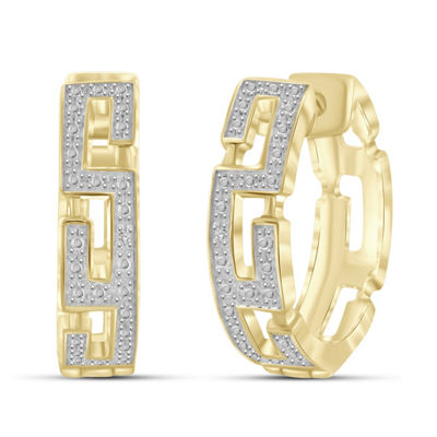 Diamond Accent White Diamond 14K Gold Over Brass 20.2mm Round Hoop Earrings