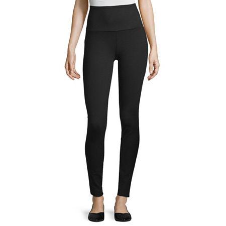 a.n.a High Waisted Tummy Control Ponte Womens Full Length Leggings, Large , Black