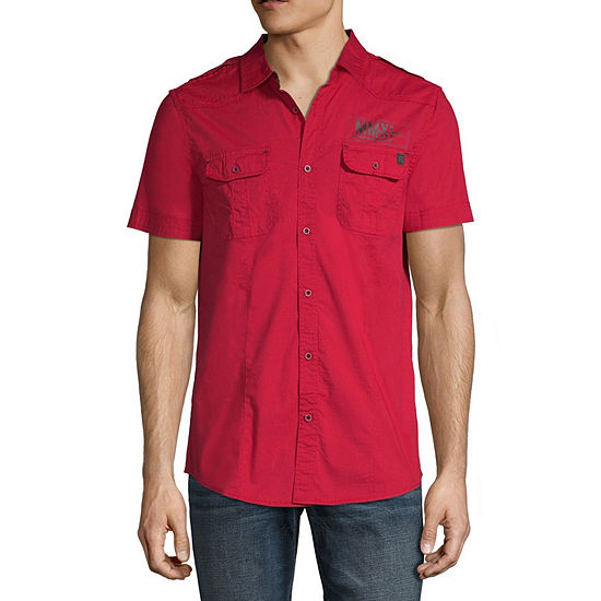 I Jeans By Buffalo Mens Short Sleeve Button Front Shirt