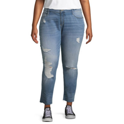 Arizona Ripped Ankle Jeans-Juniors Plus