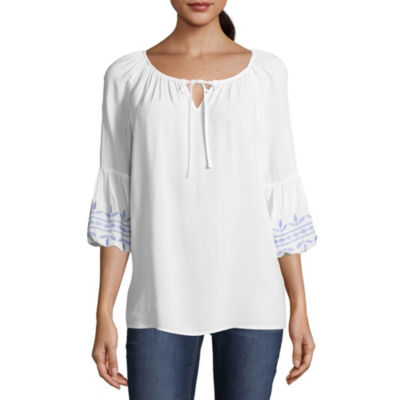 Como Blu 3/4 Sleeve Scoop Neck Woven Embroidered Blouse