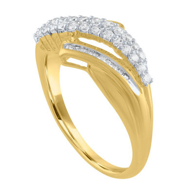 Womens 1/3 CT. T.W. Genuine White Diamond 10K Gold Cocktail Ring