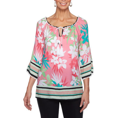 Lark Lane Island Hopping 3/4 Sleeve Split Neck Embellished Blouse
