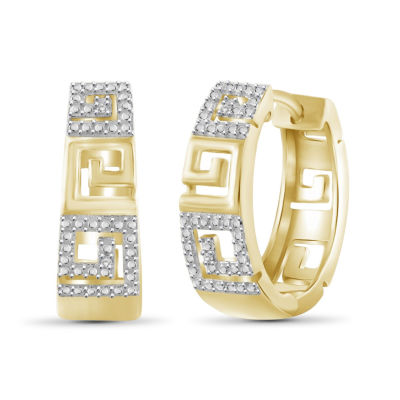 Diamond Accent White Diamond 14K Gold Over Brass 19.5mm Round Hoop Earrings