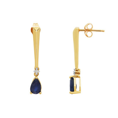 Diamond Accent Genuine Blue Sapphire 10K Gold Drop Earrings