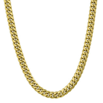 10K Gold 22 Inch Hollow Curb Chain Necklace