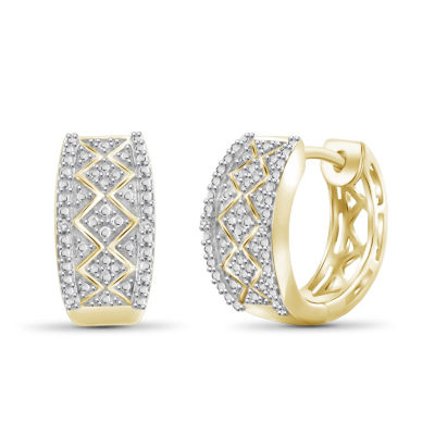 Diamond Accent White Diamond 14K Gold Over Brass 15.4mm Round Hoop Earrings
