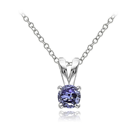 Womens Blue Tanzanite Sterling Silver Pendant Necklace