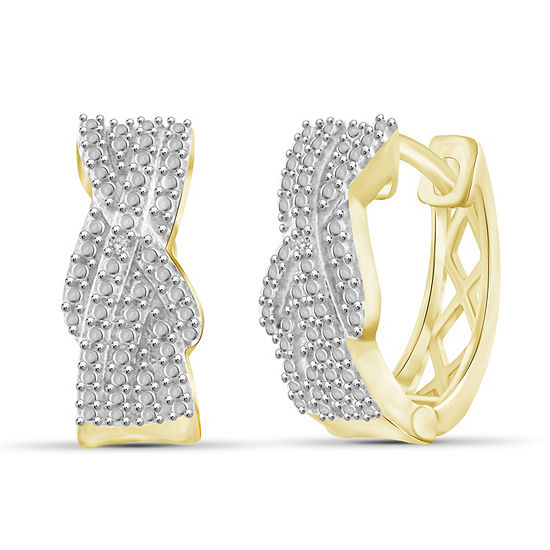 Diamond Accent White Diamond 14K Gold Over Brass 15.6mm Round Hoop Earrings