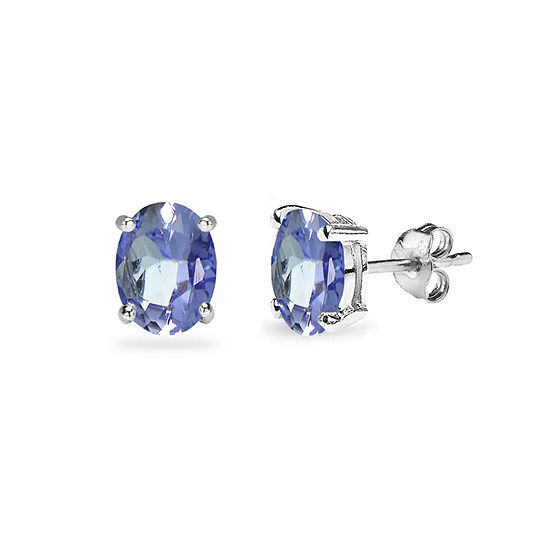 Blue Tanzanite Sterling Silver 6mm Stud Earrings