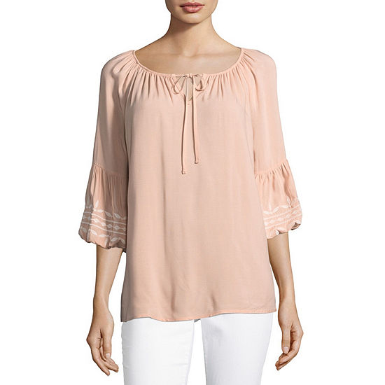 Como Blu Womens Scoop Neck 3/4 Sleeve Embroidered Blouse