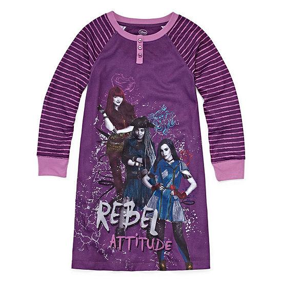 Disney Collection Girls Knit Nightshirt Descendants Long Sleeve