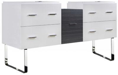 60.5-in. W 18-in. D Modern Plywood-Veneer Vanity Base Set Only In White-Dawn Grey