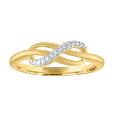 Womens Genuine White Diamond 10K Gold Cocktail Ring
