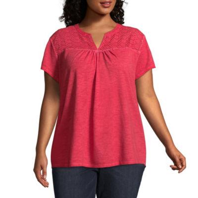 St. John's Bay®Short Sleeve Garment Wash Flutter Sleeve Top - Plus