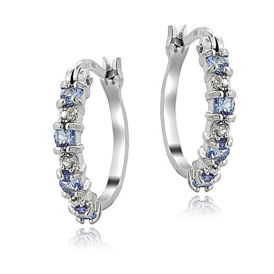 Genuine Blue Tanzanite Sterling Silver 19mm Hoop Earrings
