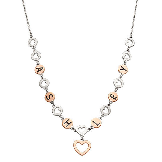 Personalized Womens 14K Rose Gold Over Silver Sterling Silver Heart Pendant Necklace