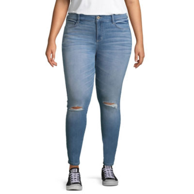 Arizona Skinny Fit Ripped Jeggings-Juniors Plus