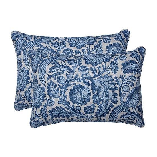 Pillow Perfect Tucker Resist Azure Set of 2 Oversized Rectangular Outdoor Throw Pillows