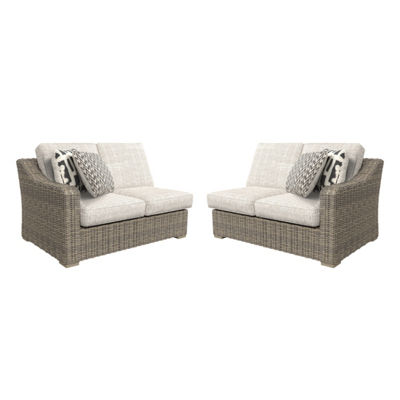 Outdoor by Ashley® Beachcroft Right-Arm Facing And Left-Arm Facing Patio Loveseat with Cushion